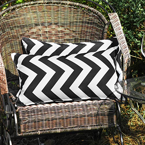 WESTERN HOME WH Pack of 2 Decorative Outdoor Waterproof Throw Pillow Covers Square Pillowcases Wave Pattern Cushion Covers Shell for Couch Patio Garden Tent Park Yellow 12 x 20 Inch