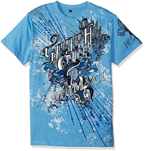 Snake Graphic - Southpole Men's Short Sleeve HD, Foil, Flock Print All Over Graphic Tee, Sky Blue/Foil Snake, Small