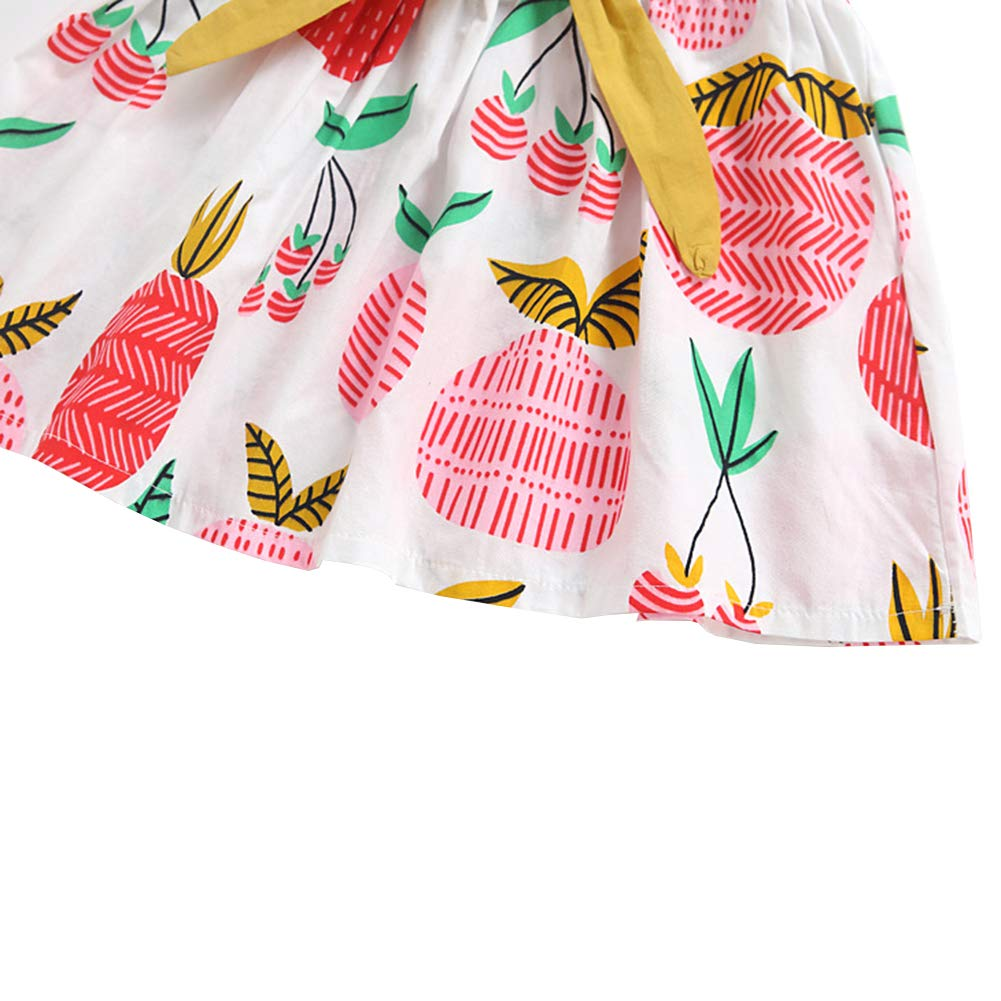 LOSORN ZPY Kids Baby Girl Cotton Printed Sleeveless Cute Dress Toddler Big Bow Pineapple Print Vest Dress
