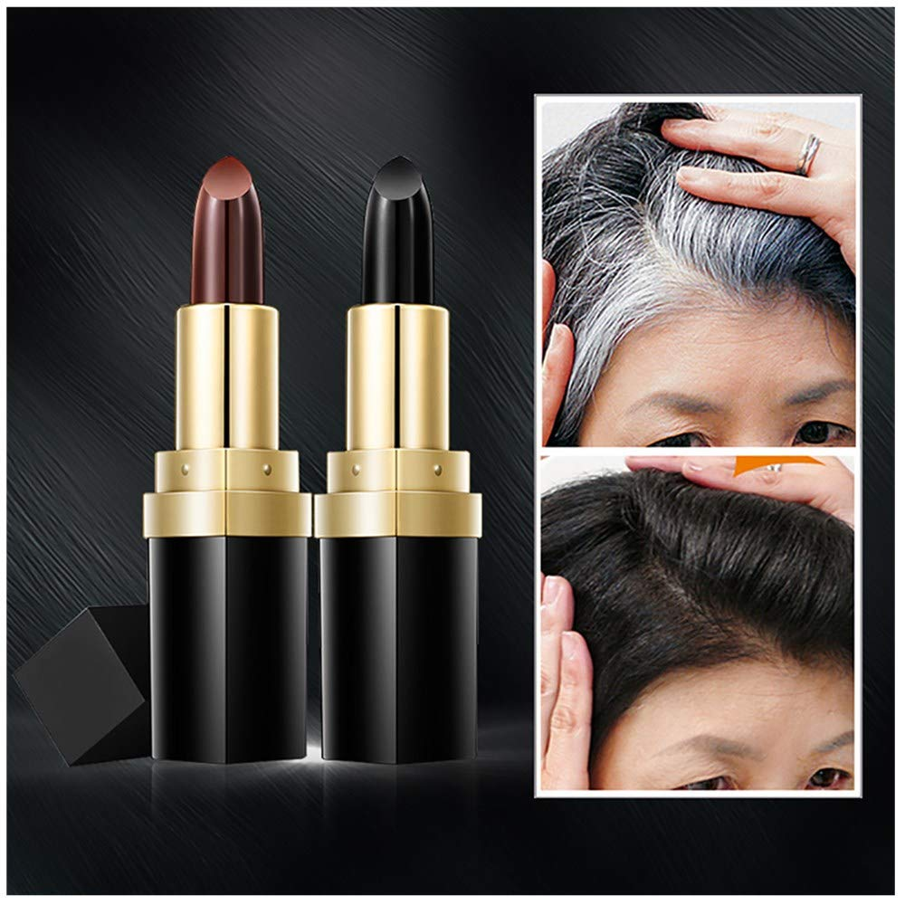 ❤️ Sunbona ❤️ Clearance Sale Hair Cream Hair Color Pen New Fast Temporary Hair Dye To Cover White (Black)