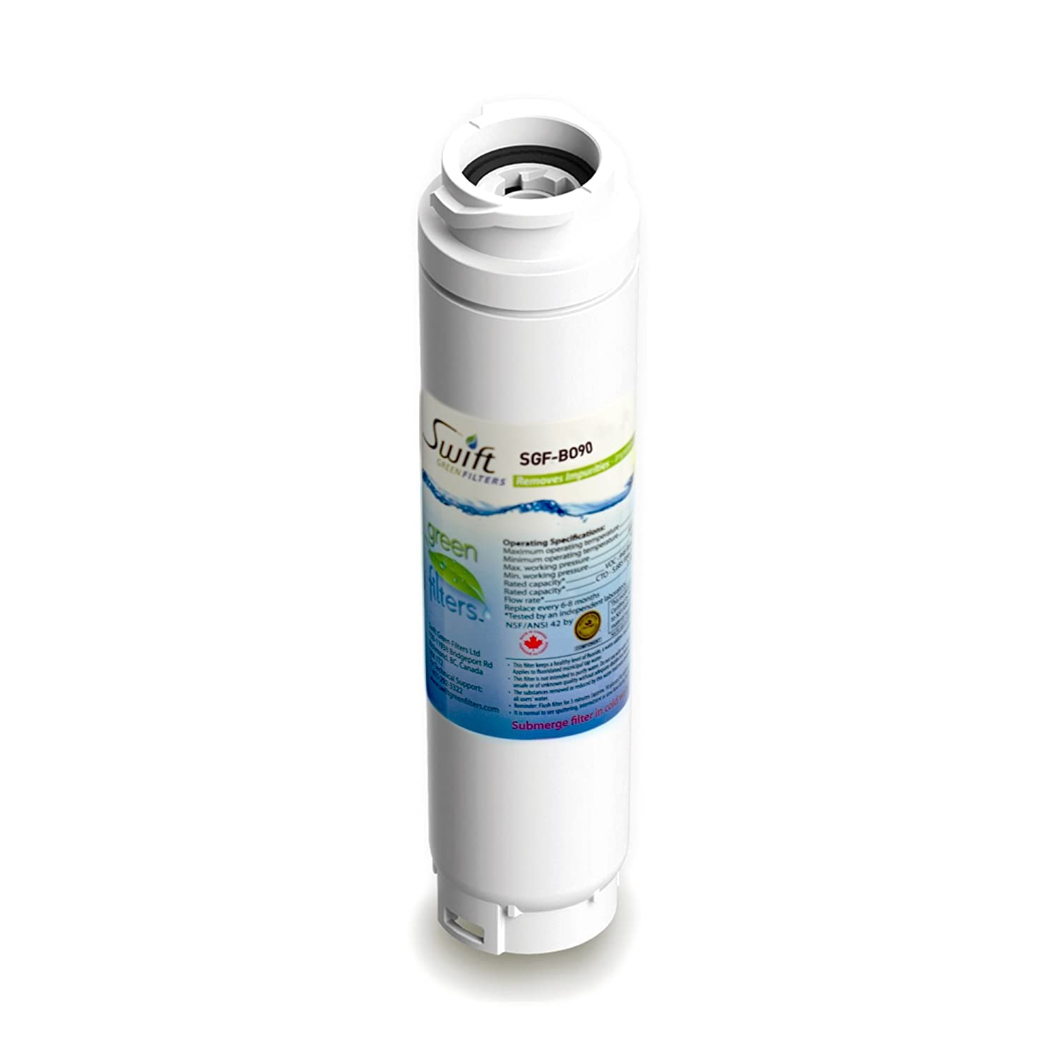 Bosch replacement water filter BT-644548, AP3962558, REPLFLTR10, 9000077095, KWF1000, RF280013 100% recyclable, and made in U.S.A. and Canada SGF-BO90