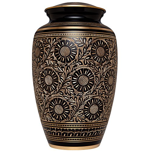 Black Beauty Urn - Liliane Memorials Black Gold Funeral Urn Cremation Urn for Human Ashes - Hand Made in Brass - Suitable for Cemetery Burial or Niche - Large Size fits Remains of Adults up to 200 lbs - Marguerites