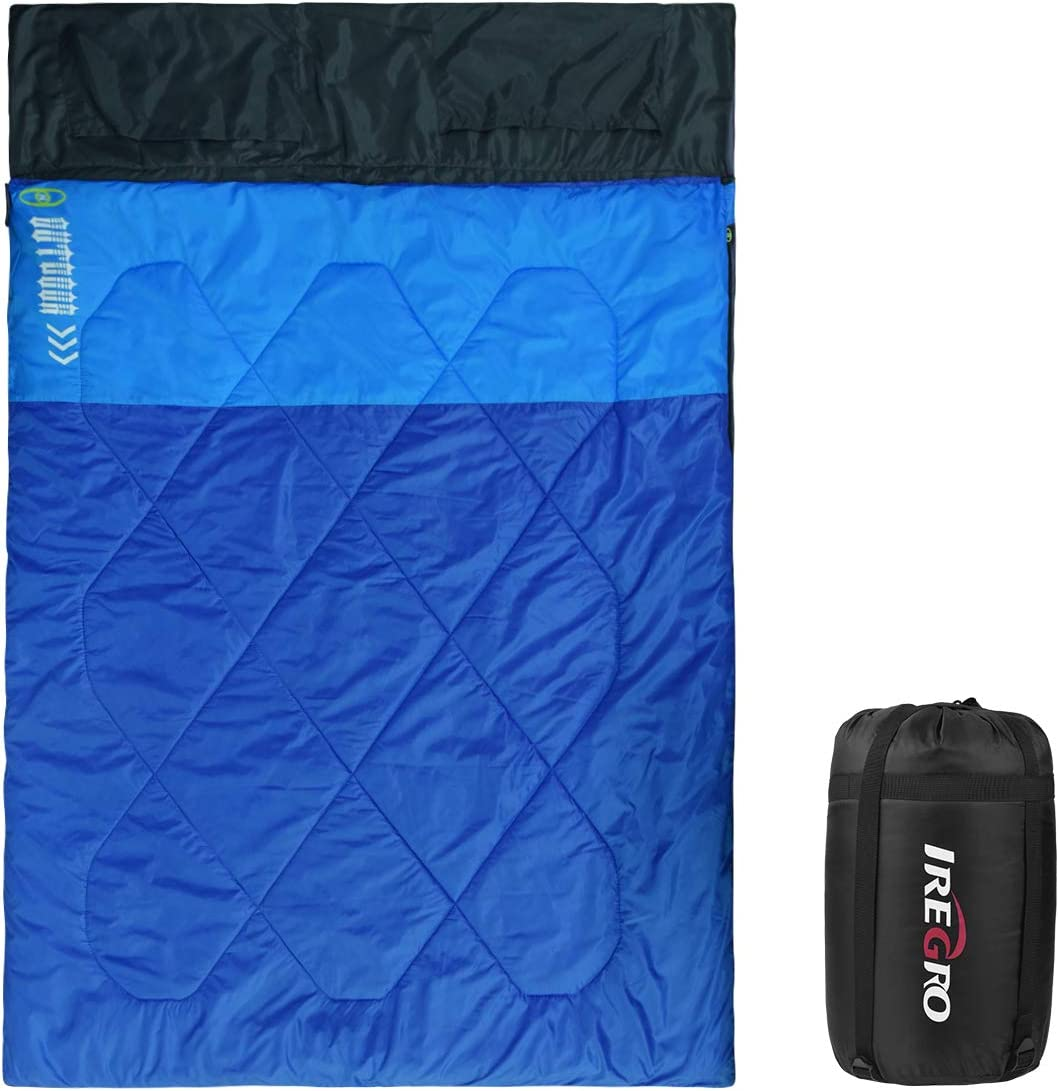IREGRO Sleeping Bag Lightweight Portable,Waterproof,Comfort with Compression Sack,3-4seasons Warm Weather Envelope Sleeping Bag for Camping,Backpacking,Hiking or other Outdoor Activities