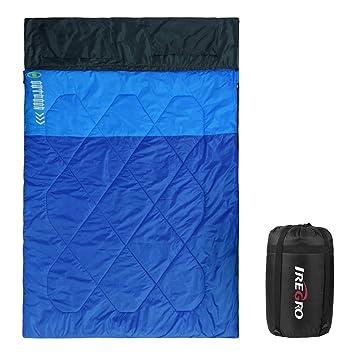 iRegro Doble Saco de Dormir con 2 Almohadas 2.4 KG Super Caliente 290T Impermeable Poliester 2