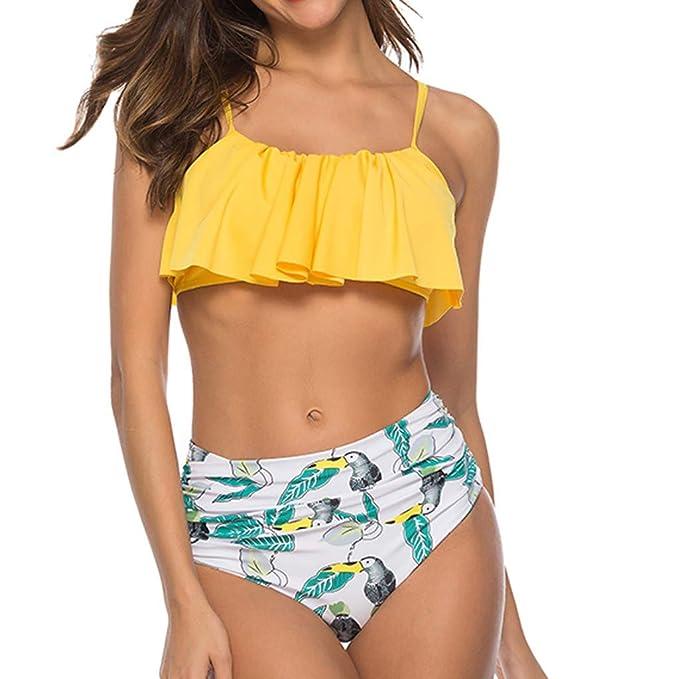 Bañadores Mujer,MISSWongg Color sólido Traje Baño Dos Piezas Impreso Bikini Conjunto de Bikini de Talle Alto con Volantes Impreso Relleno Push Up