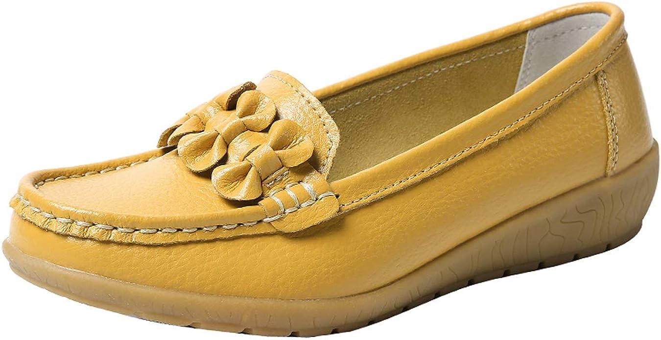 Zapatos de Cuero Cuña para Mujer Mocassins Planos Loafers Antideslizante Otoño Invierno Casual Derby
