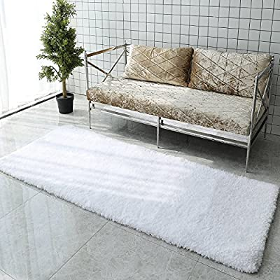 LOCHAS Tufted Shag Rug Collection Contemporary Bath Rug Non-Slip Soft Shaggy Rug Ivory Plush Runner Rug Bath Rugs (2×6.5ft) - 【ULTRA SOFT TOUCH】: Extra thick 2-inch pile height provides luxurious sink-in comfort. Ultra-plush, super soft, warm and cozy, comfort your tired feet after a day's hardwork. 【NON-SLIP BACKING】: The shaggy bath rug comes with anti-skid bottom that helps it to stay in place firmly to prevent shifting and skidding that give a good protection for your family. High-grade luxury fine workmanship. 【WATER ABSORBENT BATH RUG】: The shag rug is constructed with long microfiber that absorb water rapidly like a huge sponge and allowing it to dry quickly and cleanly, leaving the bath rug fresh all the time. - runner-rugs, entryway-furniture-decor, entryway-laundry-room - 61Iv5UJOmgL. SS400  -