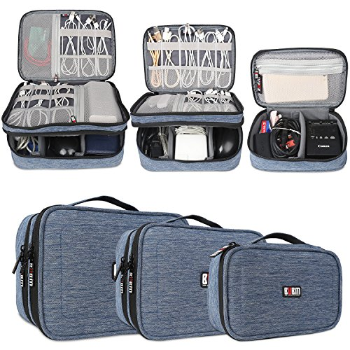 BUBM 3pcs Double Layer Electronic Organizer, Travel Gadgets Bag for Cables, External Flash Drive, Mouse, Memory Card, Power Bank and More, Compact and Multi-purpose, Denim Blue