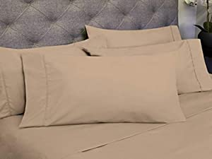 Sweet Home Collection 6 Piece 1800 Count Olivia Branch Microfiber Bedroom Sheet Set, Twin, Taupe