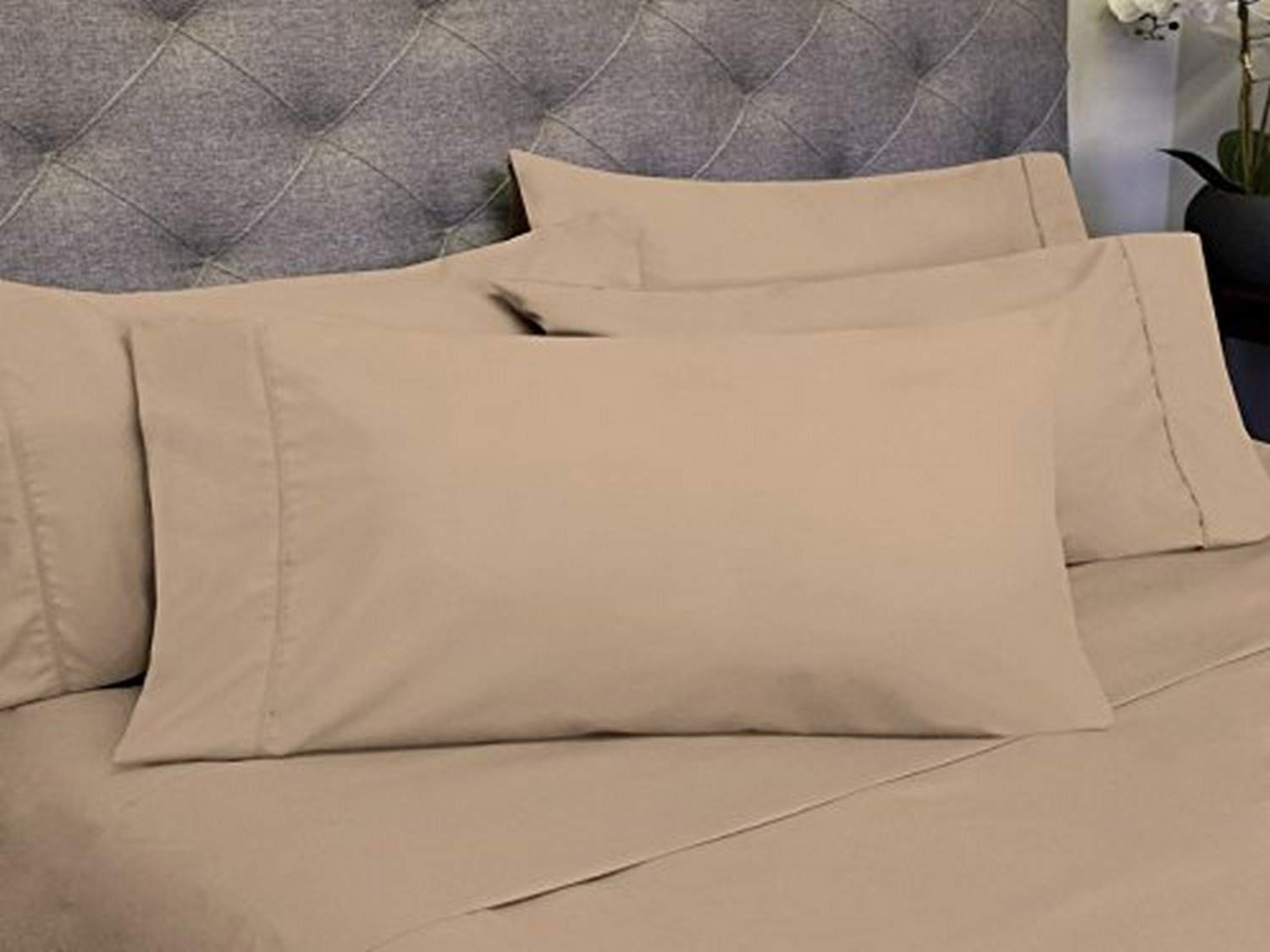 Sweet Home Collection 6 Piece 1800 Count Olivia Branch Microfiber Bedroom Sheet Set, California King, Taupe
