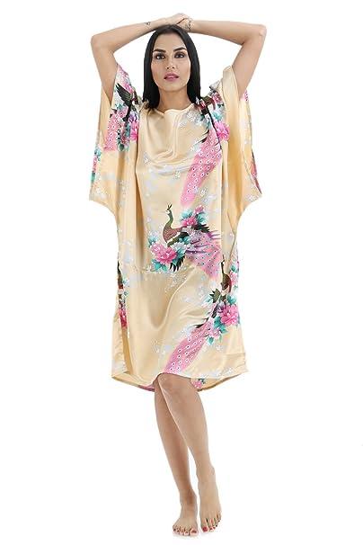 Kimono japonés Mujer Negro y Rojo Bata Mujer Pijama Lencería Kimono Corto Satén Estampado Floral Encaje
