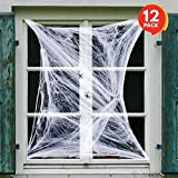 ArtCreativity Spider Web Halloween Decorations (Set of 12) | Super Stretchy Cobwebs with Plastic Spider | Indoor and Outdoor Scary Spider webs Decor | For Home, Office, Party, Kids' Prizes & More