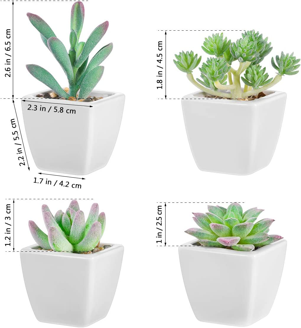 Artificial Succulents Plants Decor 4 Pcs, Mini Assorted Fake Plants with Ceramic Pots and Shockproof Packaging for Decoration