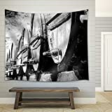 wall26 - Whisky or Wine Barrels in Black and White - Fabric Wall Tapestry Home Decor - 68x80 inches