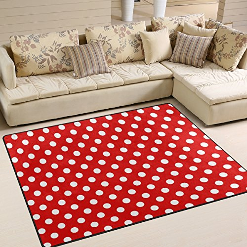 ALAZA Red White Polka Dot Area Rug Rugs for Living Room Bedroom 7' x 5' ()