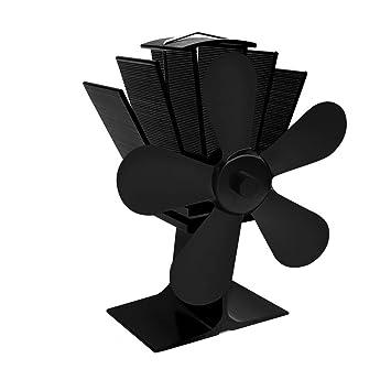 Ventilador de estufa accionado por calor de 5 cuchillas Hogar Ventilador de estufa accionado por calor silencioso Ventilador de estufa de leña ultra ...