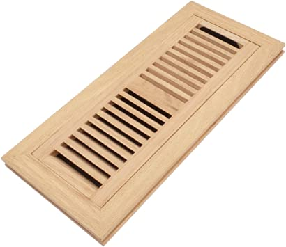 Red Oak Wood Flush Mount Floor Register Vent Cover, 4x14 Inch (Duct Opening), 3/4 Inch Thickness, with Damper, Unfinished