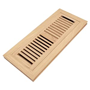 Red Oak Wood Flush Mount Floor Register Vent Cover, 4x12 Inch (Duct Opening), 3/4 Inch Thickness, with Damper, Unfinished