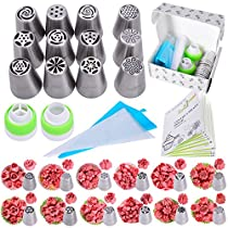 Cake decorating tips set 25 pcs Russian piping tips newest big size baking supplies 9 flower icing tips 3 Malaysia pastry nozzles and accessories included in baking supplies set