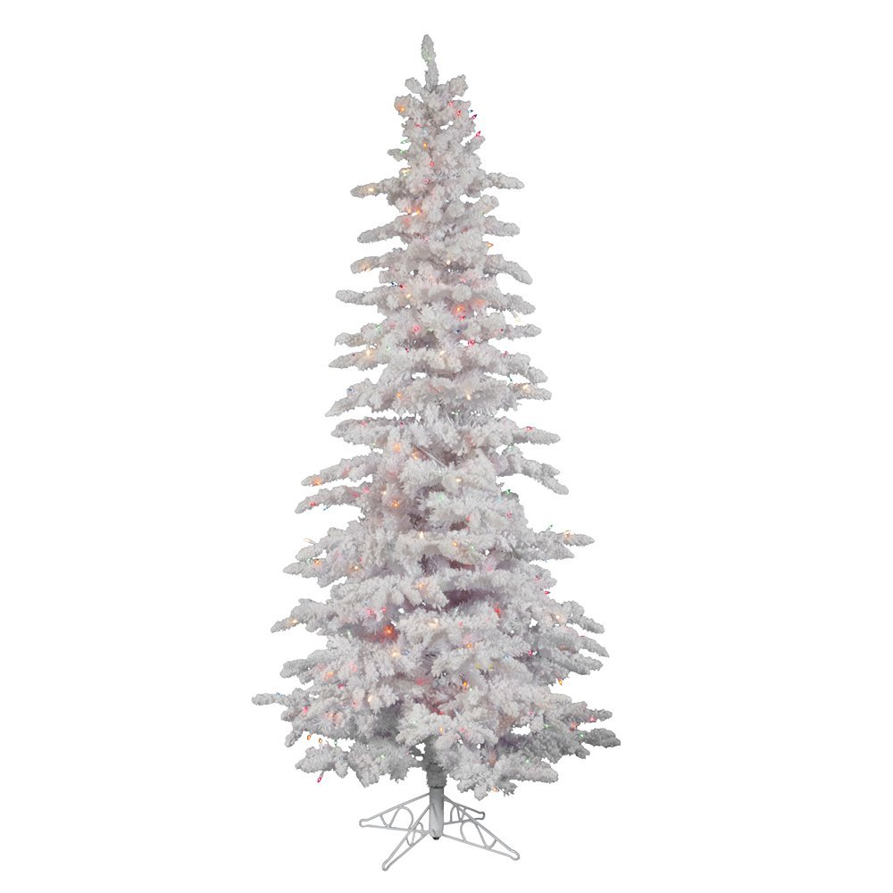 b0f067dda2a Amazon.com  Vickerman Pre-lit Flocked White Slim Artificial Christmas Tree  with 550 Multicolored LED Lights