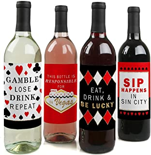 product image for Las Vegas - Casino Decorations for Women and Men - Wine Bottle Label Stickers - Set of 4