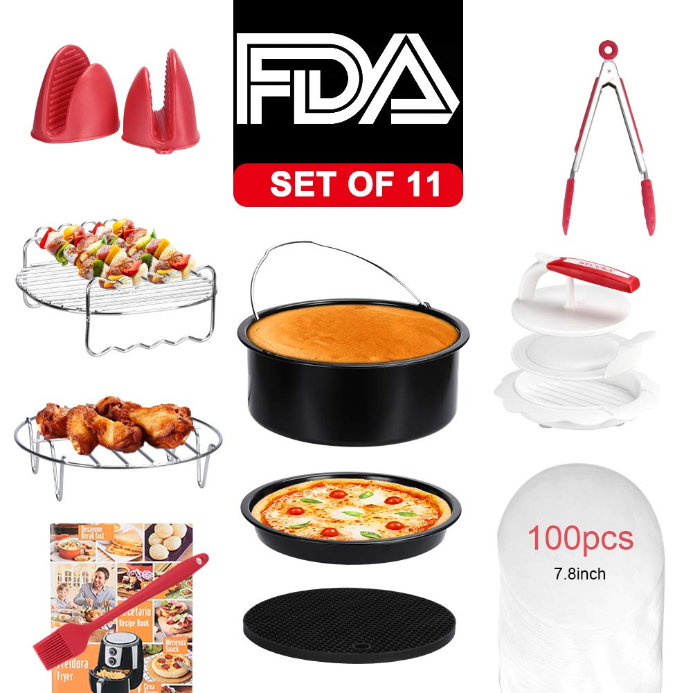 Secura Air Fryer Accessories for Gowise Philips and Cozyna, Fits All 3.5QT & Larger Air Fryers| Non-stick Barrel/Pan | 304 Stainless Steel Holder, Skewers | Food Grade Silicone Mat, Mitts,Tong, Brush