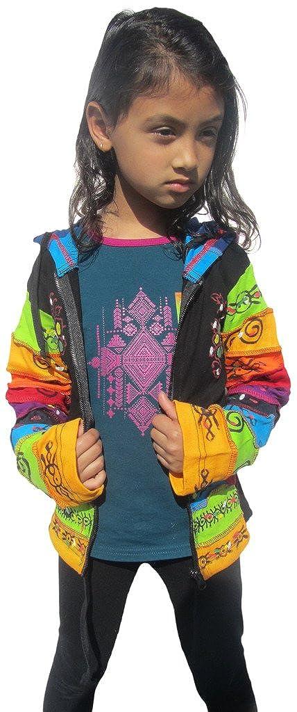 Little Kathmandu Kinder Schwarz Regenbogen Pixie Hood Baumwolle Jacke