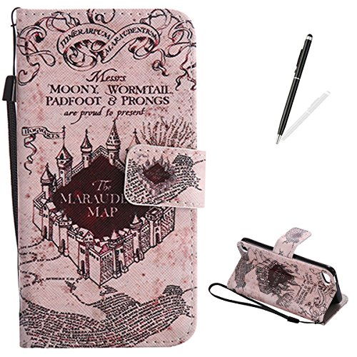 iPod touch 5/6 Flip Leather Case KaseHom [Free Black Stylus Pen], Folio Magnetic Cartoon Pattern Premium PU Wallet Cover with Lanyard [Card Slots] [Kickstand] Protective Holster Magic ()