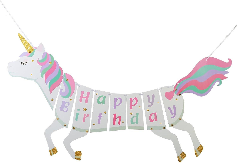 ZoomSky Unicornio de Banner Bonito de Caballo Forma Multicolor de Fiesta cumpelaños de pancartas Happy Birthday para Decorar la habitación, Baby Sower, jardín, Pared