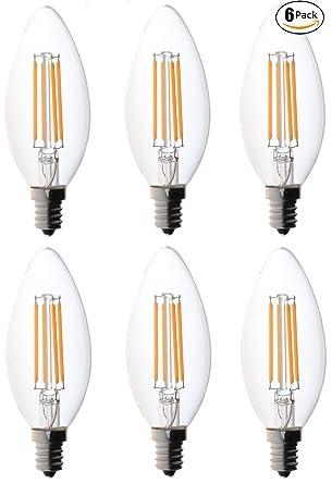 Lightess 6 Bombillas Vintages Bombilla Retra Edison Vela Bombilla LED - 2700K ST64 3 Vatios Blanco Cálido ...