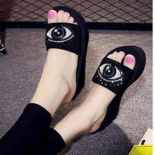 Personalità spessore 38 Ajunr 3cm Nero forty two Pantofole Alla Moda Mo Sandali inferiore di Donna Da aqxzPra