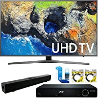 Samsung 54.6 4K Ultra HD Smart LED TV 2017 Model (UN55MU7000FXZA) with HDMI HD DVD Player, Solo X3 B.tooth Home Theater Sound Bar, 2x 6ft High Speed HDMI Cable & Screen Cleaner for LED TVs