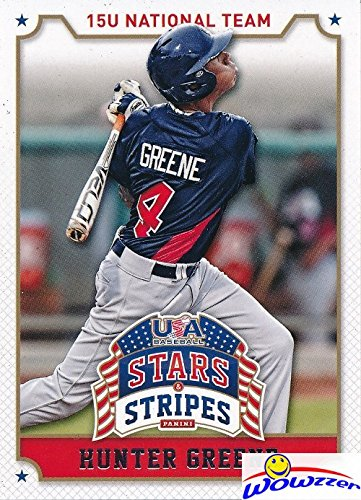 Hunter Greene 2015 Panini USA Baseball Stars and Stripes #43 ROOKIE Card in MINT Condition in Ultra Pro Top Loader! Expected #1 Pick in 2017 MLB Draft! 102 MLB Fastball - The Greene