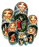 Golden Cockerel Russian 7-piece Nesting Doll in Doll Fairy Tale Legend Folklore Matryoshka. Exclusive and One-of-a-kind Babushka by GreatRussianGifts. Signed by Artist.