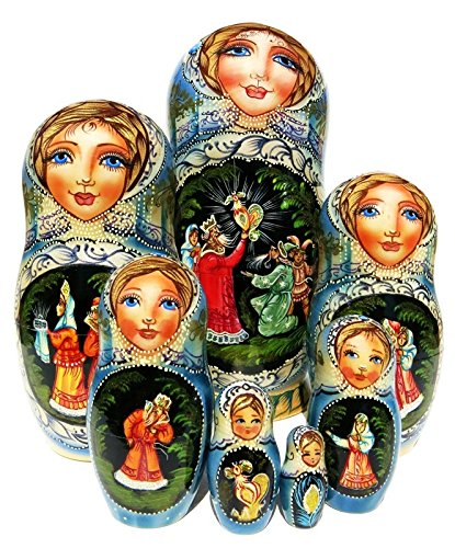 Golden Cockerel Russian 7-piece Nesting Doll in Doll Fairy Tale Legend Folklore Matryoshka. Exclusive and One-of-a-kind Babushka by GreatRussianGifts. Signed by Artist. by GreatRussianGifts (Image #4)