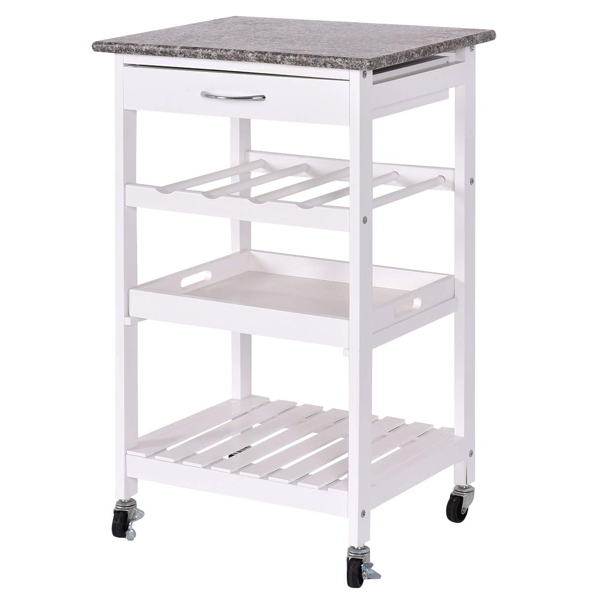 Giantex 4-Tier Kitchen Cart Rolling Wood Kitchen Trolley Island Cart with Lockable Wheels, Drawer, Storage Shelf, Wine Rack and Granite Countertop (White)