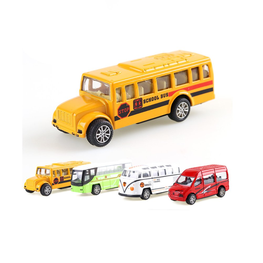 4 Pack Of Happy Engineering Team Friction Powered Push & Play Pull Back Vehicles Toys Like School Bus Passenger Car Minibus Made Of Alloy For Child(1:64)