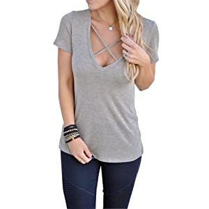 Bemall Summer Woman's Casual T-shirt Deep V Neckline Design