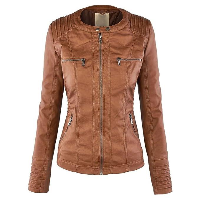 Meedot Femme Manteaux Hiver Faux Leather Jacket Veste à