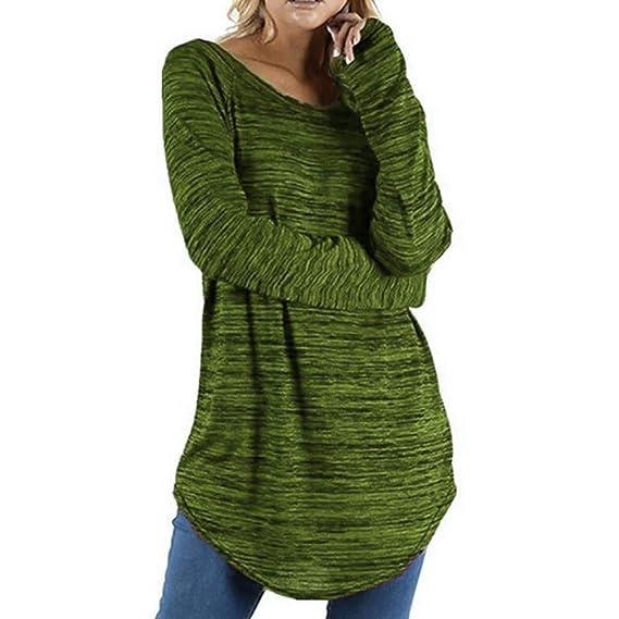 Rovinci☆ Mujeres Casual Cómodo Tallas Grandes Color sólido Cuello Redondo Blusa de Manga Larga Jerseys Tops Camisa Blusa: Amazon.es: Ropa y accesorios