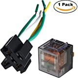 Ehdis [1 Set] Car Truck Motor Relay Socket with Connector Heavy Duty 12V 100A SPST Waterproof Seal Transparent Case 4 Pin 4 Wire JD2912