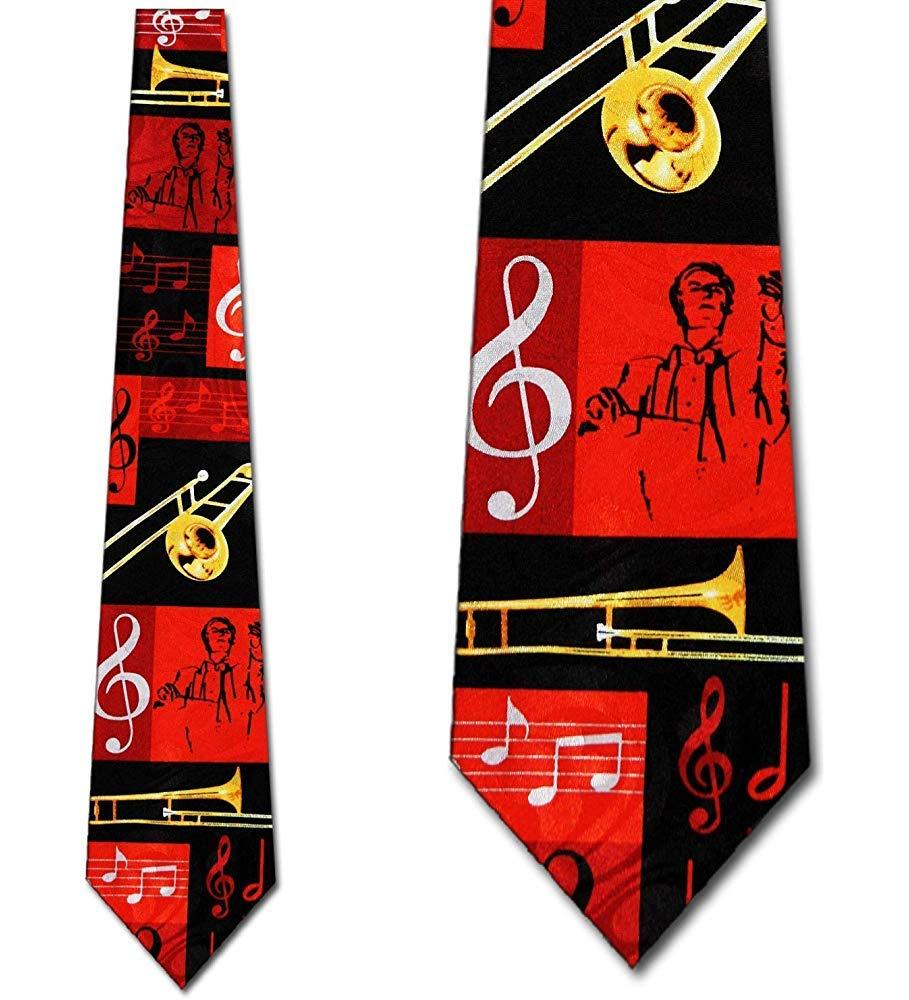 Corbata para hombre - Trombón, Músico, Notas musicales - Rojo y ...