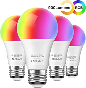 Smart LED RGB Light Bulb - Aoycocr 10W A21 E26 Soft White (2700K) Multicolor - 900 Lumens (85W Equivalent) - Compatible with Amazon Alexa and Google Assistant, No Hub Required (4 Pack)