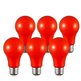 TORCHSTAR Bombilla LED de color rojo, A19, casquillo E26 de base mediana, ambiente de vivienda y melatonina ...