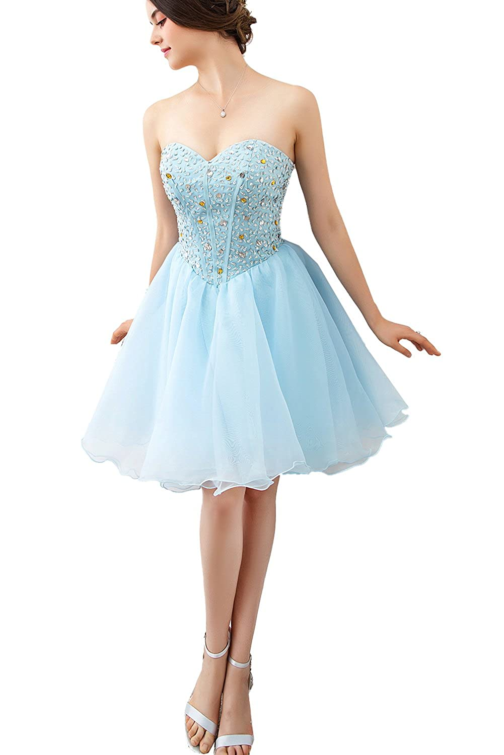 Baby bluee FASHION DRESS 2017 Women's Short Evening Prom Party Cocktail Dress