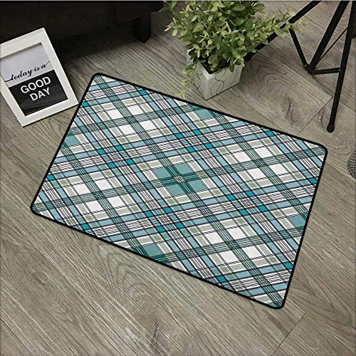 Hall mat W35 x L59 INCH Checkered,Vintage Fashion English Country Style with Modern Look in Soft Colors, Aqua Pale Grey White Easy to Clean, no Deformation, no Fading Non-Slip Door Mat Carpet