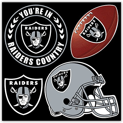 NFL Oakland Raiders NFL 4-Piece Magnet Set, Black,