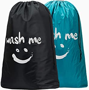 HOMEST 2 Pack XL Wash Me Travel Laundry Bag, Machine Washable Dirty Clothes Organizer, Large Enough to Hold 4 Loads of Laundry, Easy Fit a Laundry Hamper or Basket, Blue and Black