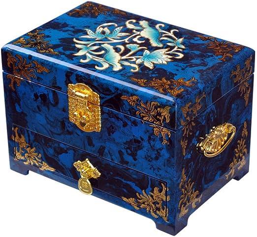 Laogg Caja Joyero Chino,Joyas Madera Almacenamiento de Empuje Caja Pingyao luz Laca Puro Hecho a Mano joyería Caja Madera Caja de Madera: Amazon.es: Hogar