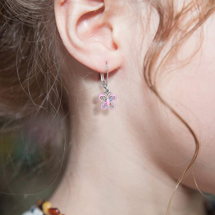 6954c2470f1aa Premium 8MM Crystal Butterfly Screwback Kids Baby Girl Earrings With ...